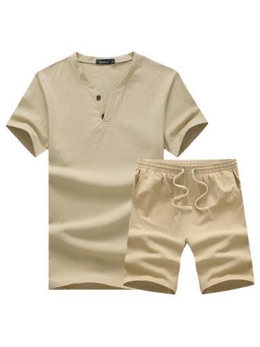 Men's Fashion Comfy Cotton Linen T-shirts + Shorts Sets