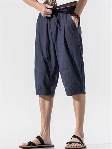 Mens Casual Loose Elastic Waist Cropped Pants