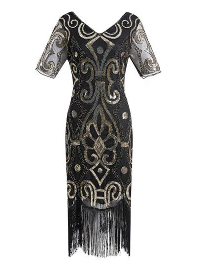 Elegant Sequin Fringed Gatsby 1920s Dress For Cocktail Party