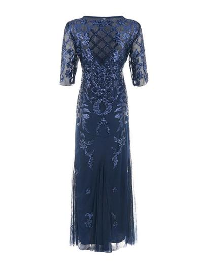 Gorgeous Sequined Tulle 1920s Maxi Dress for Evening