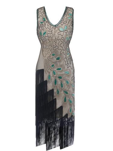 Flattering Beaded Fringed Asymmetric Design 1920s Dress for Cocktail Party