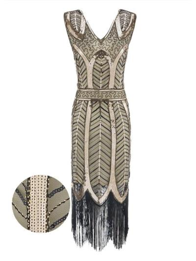 Shiny Leaves Sequined Tassel 1920s Dress For Cocktail