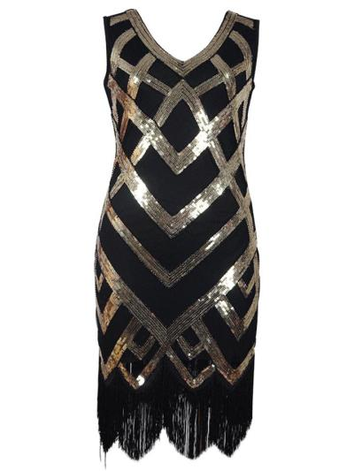 Gorgeous Sequined Fringe Gatsby 1920s Dress for Prom