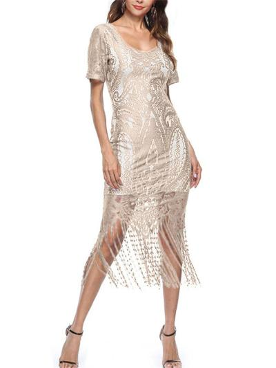 Flattering Fringed Floral Lace 1920s Dress For Cocktail Party
