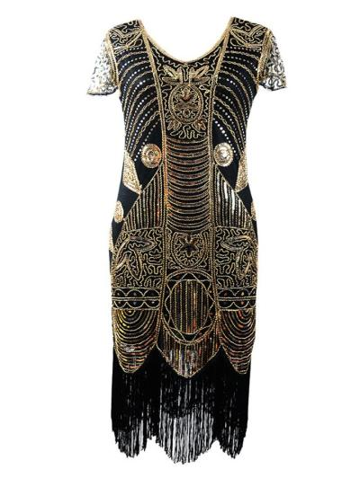 Shimmering Cap Sleeve Sequined Fringed 1920s Dress for Cocktail Party