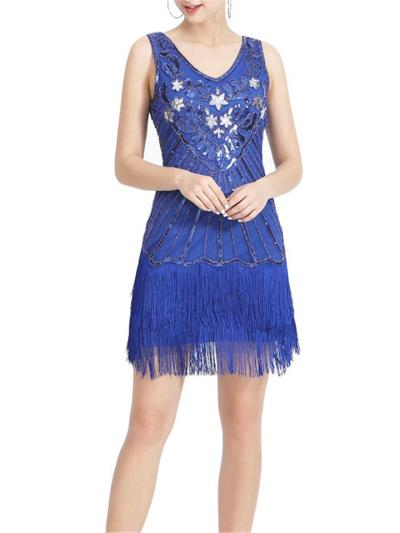 Decent Vintage Fringed Sequined Gatsby 1920s Dress for Cocktail Party