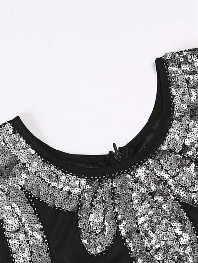 Shiny Black Sequin Flapper 1920s Dress For Party Prom