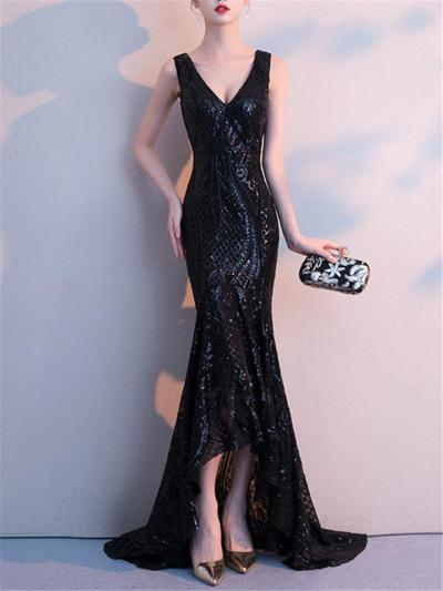 Shiny Sequined High Low Mermaid 1920s Dress for Formal Party