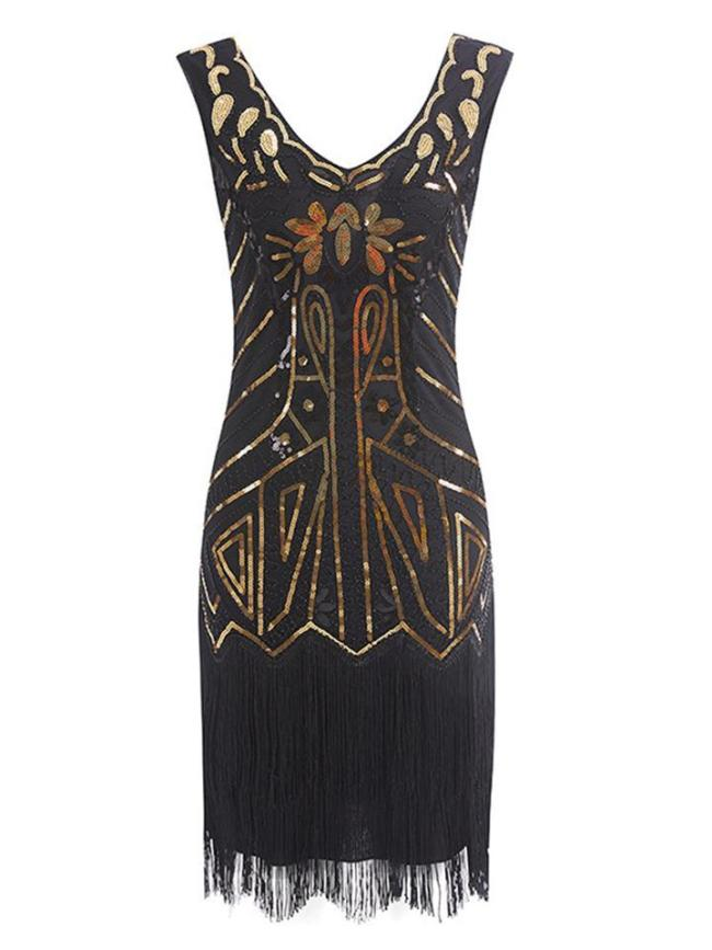 Decent Retro Sequin Fringed Flapper 1920s Dress For Cocktail