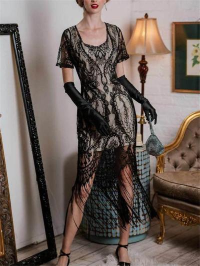 Elegant Black Fringe Lace Flapper 1920s Dress For Party