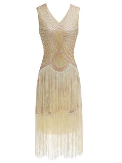 Pretty Sequined Fringe Gatsby 1920s Dress for Cocktail Party