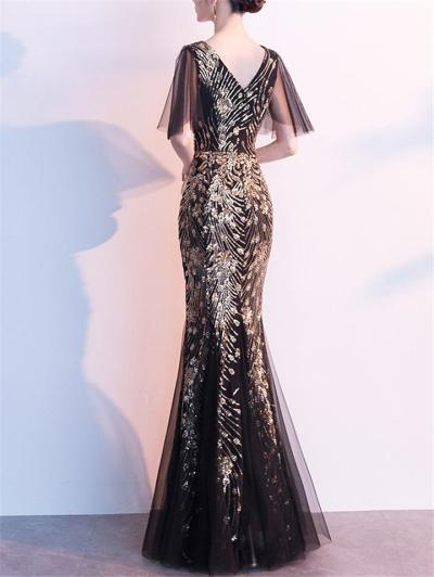 Shimmering Sequined Cap Sleeve Tulle 1920s Dress for Formal Party
