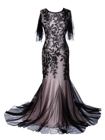 Gorgeous Leaf Print Sequin Maxi Gowns 1920s Dress For Evening