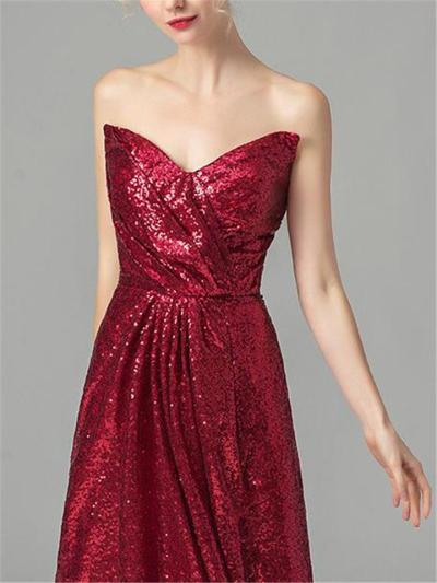 Elegant Strapless Sequin Bridesmaid 1920s Dress For Evening