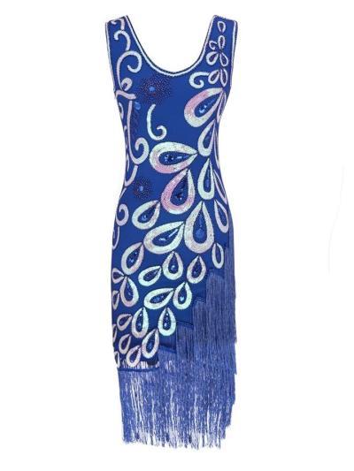 Decent Floral Sequined Tassels Flapper 1920s Dress For Cocktail