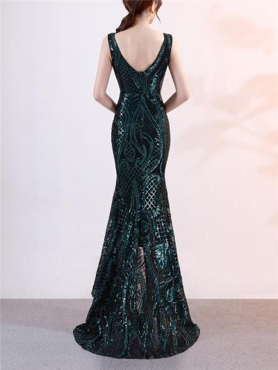 Elegant Sequined High Low Mermaid 1920s Dress for Formal Party