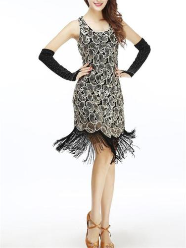 Shimmering Sequined Fringed Dress for Cocktail Party