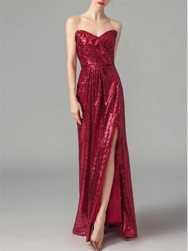 Elegant Strapless Sequin Bridesmaid 1920s Dress For Evening