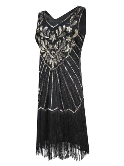 Retro Style Sequined Fringed Sleeveless Dress for Cocktail Party