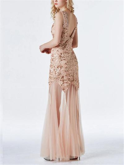Gorgeous Vintage Sequin Long Tulle 1920s Dress for Evening