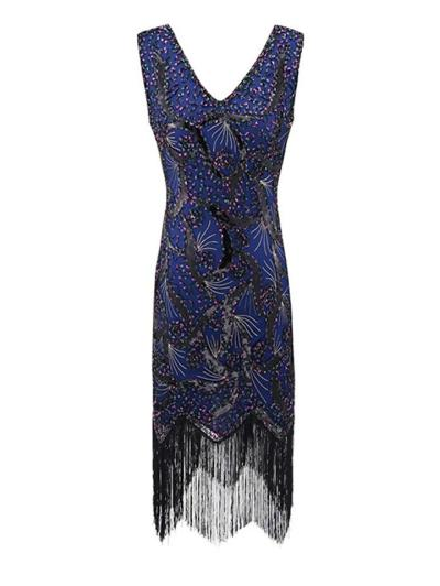 Vintage Style V Neck Sequined Fringed 1920s Dress for Cocktail Party