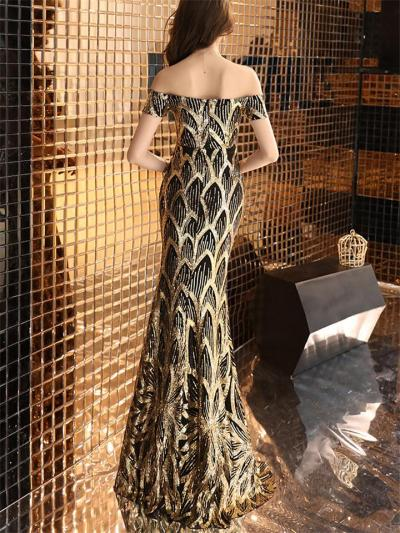 Gorgeous Sequined Off Shoulder Mermaid Dress for Formal Party