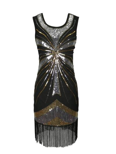 Shimmering Sequined Fringed Gatsby 1920s Dress for Cocktail Party