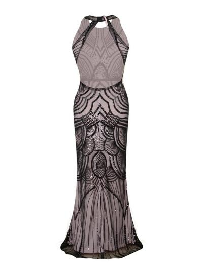 Sequin Backless Formal 1920s Maxi Dress for Evening