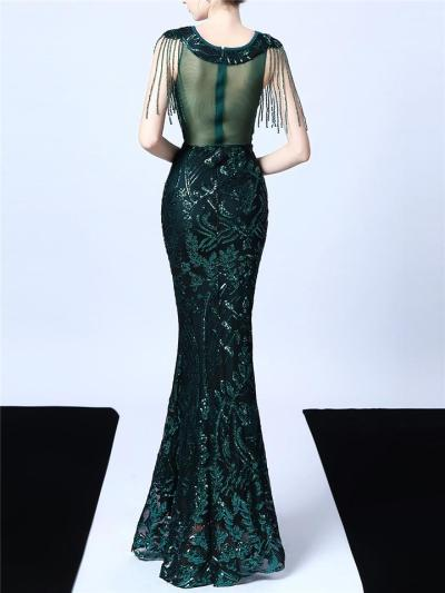Exquisite Sequined Illusion Neck Mermaid 1920s Dress for Formal Party