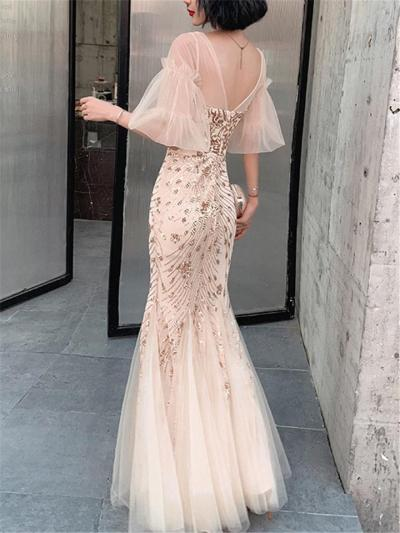 Exquisite Sequined Trumpet Tulle 1920s Dress for Formal Party