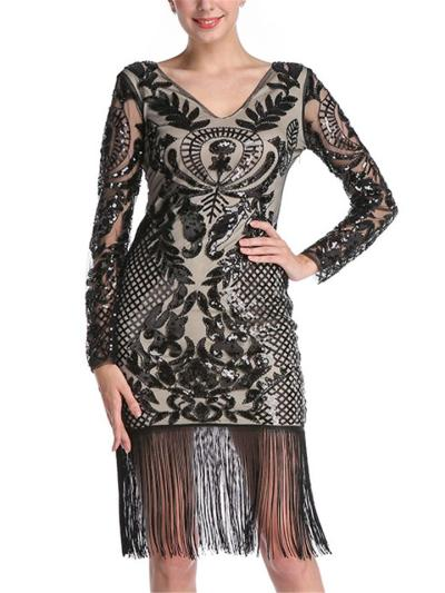 Elegant Sequined Fringed Long Sleeve Dress for Cocktail Party