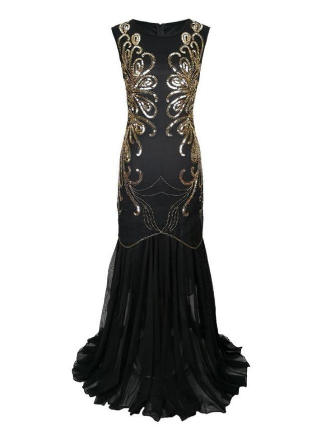 Decent Sequined Sleeveless Mesh 1920s Gown Dress for Evening