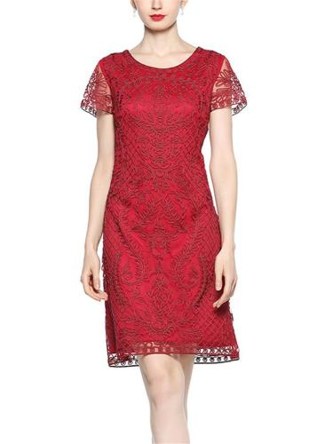 Decent Scoop Neck Embroidery 1920s Dress for Cocktail Party