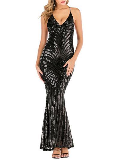 Vintage Style V Neck Backless Sequined 1920s Dress for Evening