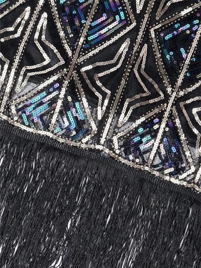 Shiny Sequin Fringed Flapper 1920s Dress For Cocktail