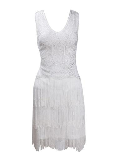 Pretty Sequined Fringe White Dress for Cocktail Party