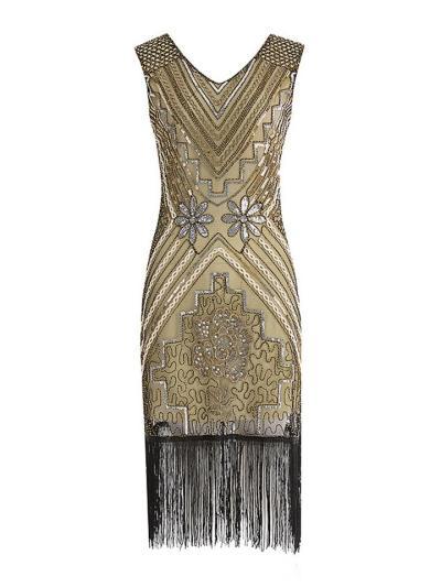 Floral Sequined Fringe Flapper 1920s Dress For Prom