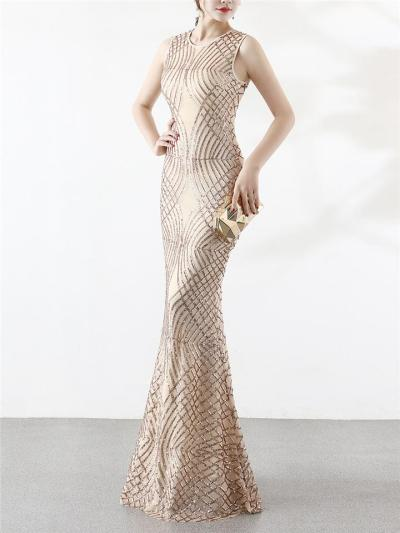 Gorgeous Geometric Sequin Maxi 1920s Dress For Evening