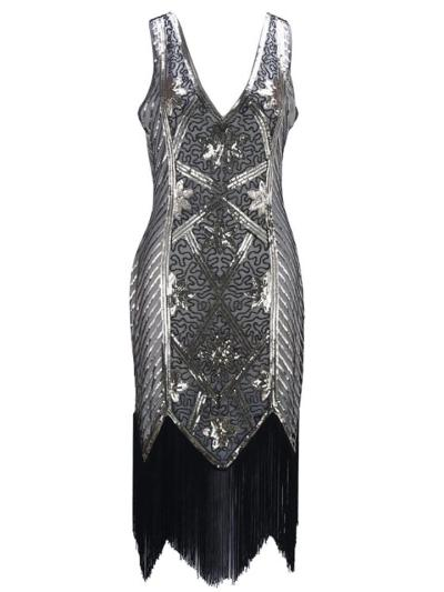 Shiny Sequined Fringed V Neck Dress for Cocktail Party