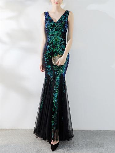 Gorgeous Sequined V Neck Trumpet 1920s Dress for Formal Party