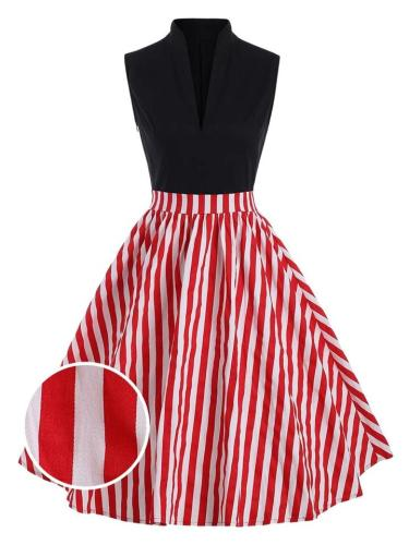 Red 1950S Stripe Patchwork Stand Collar Swing Dress