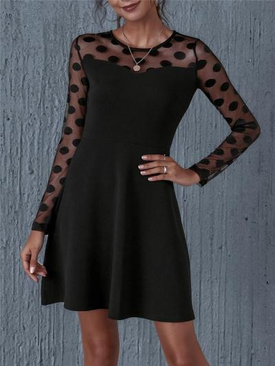 Black Lace Polka Dot Patchwork Long Sleeve A-Line Dress