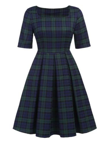 Dark Green 1950S Classic Plaid Square Neck Pleated Dress
