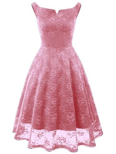 1950S Sexy Lace V Neck Floral Swing Dress