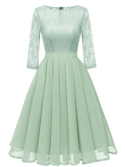 3/4 Sleeve 1950S Decent Lace Floral Midi Swing Dress