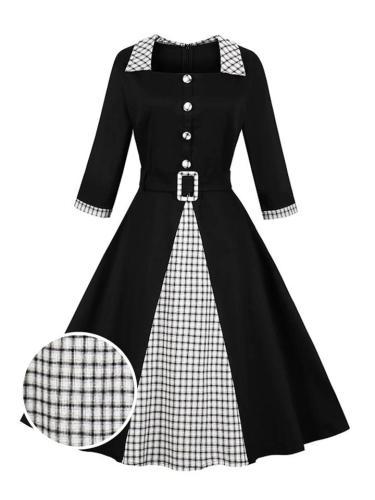 1950S 3/4 Sleeve Plaid Patchwork Belt Swing Dress
