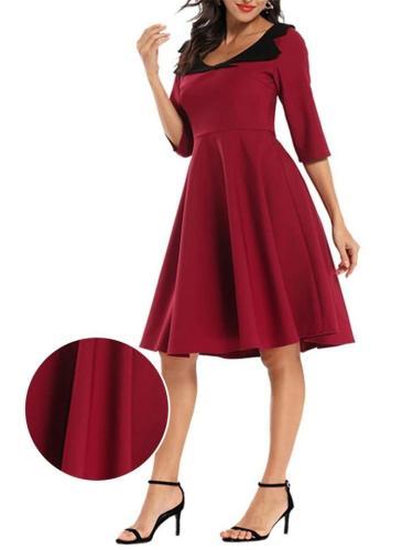 1950S Cute Collar Half Sleeve Swing Dress