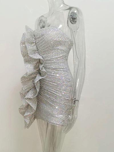 Silver Sequins Ruffles Strapless Bodice Sheath Dress For Party