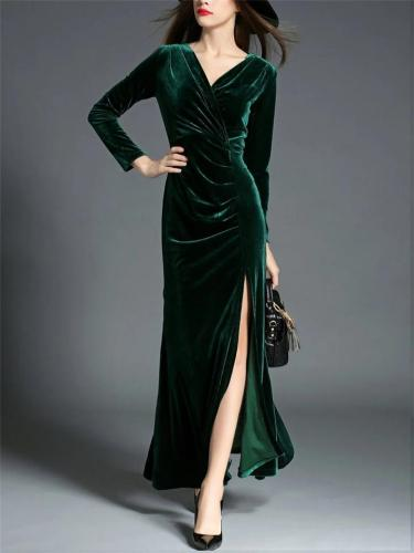 1950S Velvet Solid Color V Neck Wrap Dress