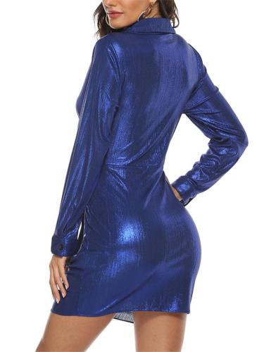 Royal Blue Shirring Knotted Waist Long Sleeve Bodycon Dress